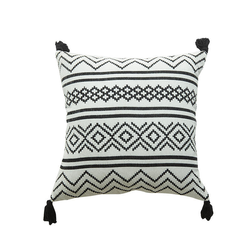 Bohemian Latest Design Chenille Cushion Cover For Sofa Moroccan Printed Throw Pillow Case With Tassel Cushion Cover