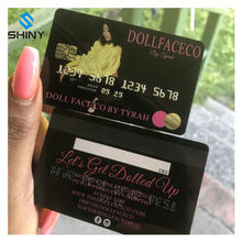 Holographic pink black gold plastic business cards look like credit card