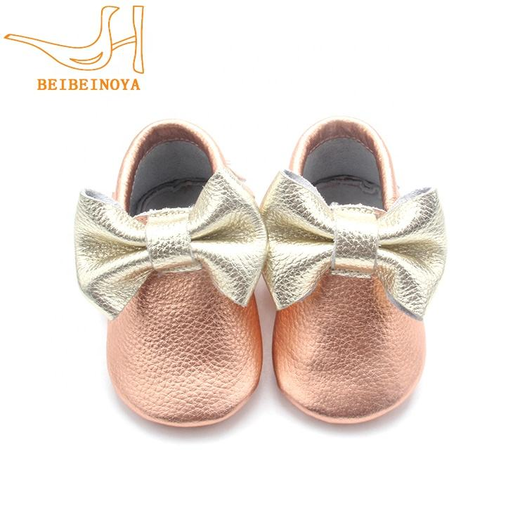 Shenzhen Manufacturer Infant Genuine Leather Baby Girls Moccasins Shoes