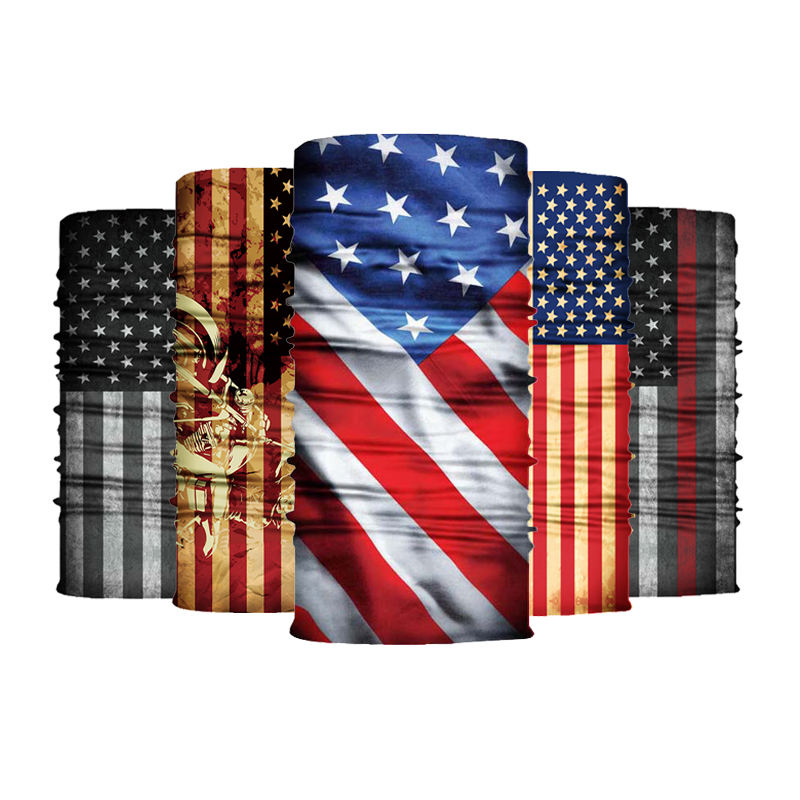USA Flag Stock Cheap Outdoor Magic Half Face Tuban Headwear Scarf Bandana Durags