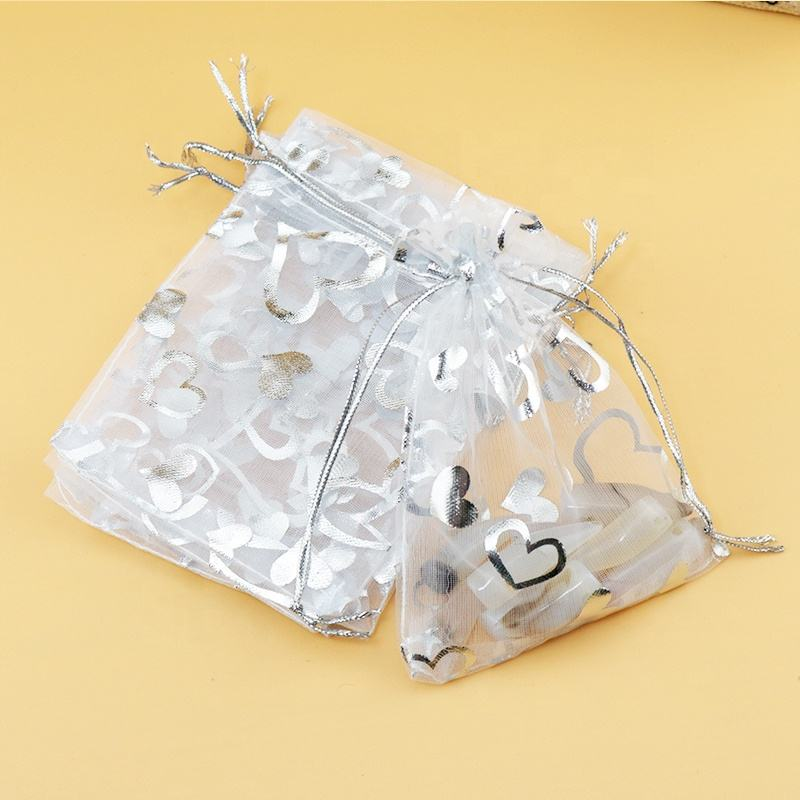 Wholesale 100pcs/lot White Organza Bag 7x9cm Silver Heart Print Wedding Jewelry Packaging Bags Pouches Nice Gift Bags