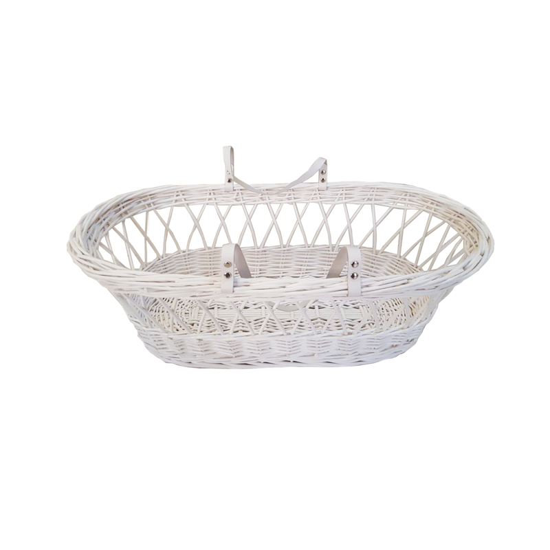 Wicker moses basket with dressings / Wicker baby moses basket
