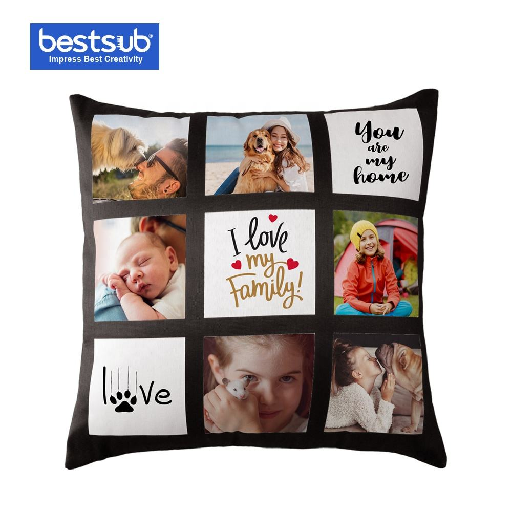 Bestsub Custom 45*45cm Black White Heat Press Transfer Family Picture Pillow Case Sublimation Blanks 9 Panel Pillows Cover