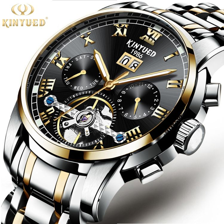 KINYUED J014 Men Automatic Mechanical Luminous Stainless Steel Watch Waterproof Sport Watch