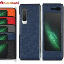 iCoverCase for Samsung Galaxy Fold 5G Case Flip Cover Genuine Leather Case for SM-F900F Full Protective Covers Coque Fundas