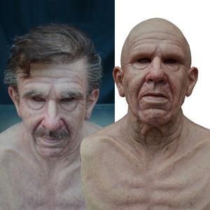 Decorazione Completa della Testa in Lattice Antirughe per Maschera di Halloween per Adulti Copricapo di Halloween Maschera realistica da Donna anziana di Halloween