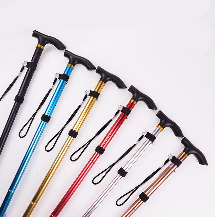 Wholesale High quality adjustable walking stick, Retractable Telescopic Hiking Sticks walking crutch Folding cane