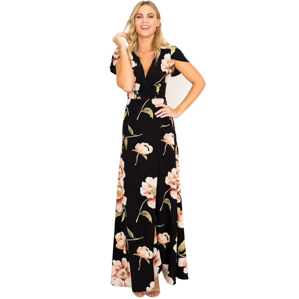 Women Clothing V Neck Short Sleeves Floral Casual Dress Beach Long Dresses Ceremony Tunic Banquet Holiday Party Maxi Dress