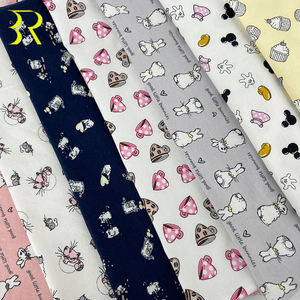 Breathable Anti Bacterial 40S Cute Cartoon Design Printed 95%Cotton 5%Spandex Jersey Fabrics for Child Baby Sweatpants