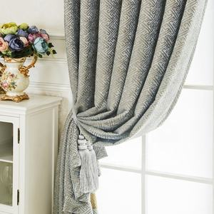 Grey endless pattern linen black out curtain cheap curtains for the living room luxury