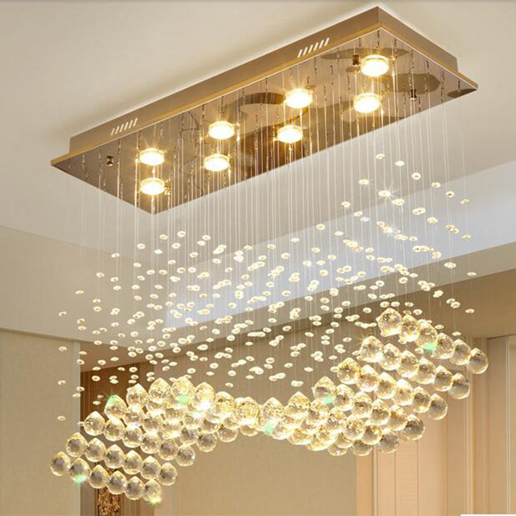 High Quality Luxury Lighting Rectangular Dining Table K9 Crystal Raindrop Chandelier Pendant Lamp