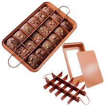 Copper Non Stick Brownie Cake Baking Pan with Dividers Built-In 18 Slicer Carbon Steel Bakeware for Oven Baking Brownie Maker