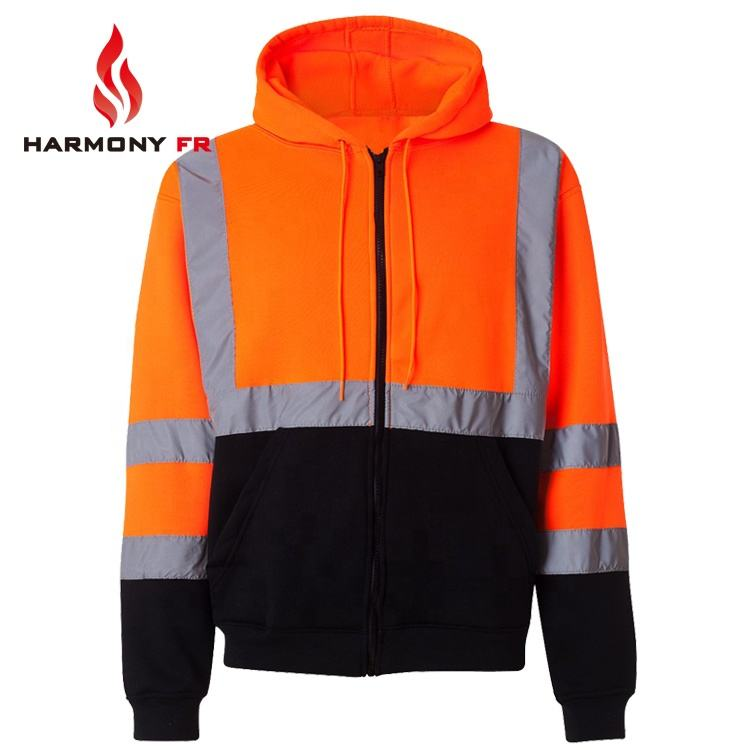 Knit Fleece Two tone Fire Retardant Anti Static Hoodie For Safety Workwear