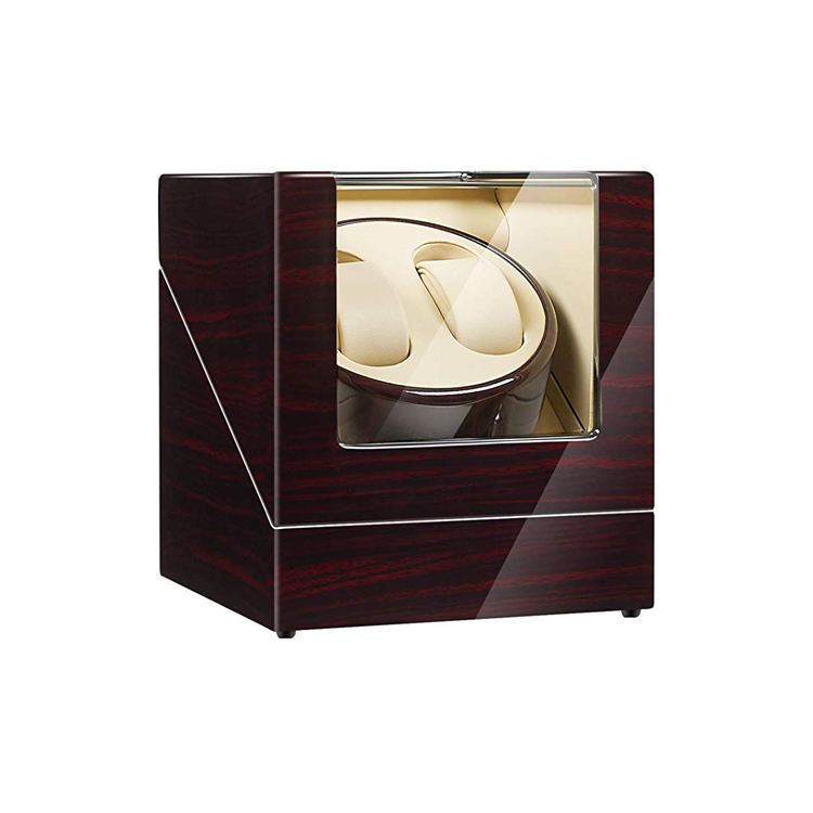 Double Watch Winder Watch Wooden Watch Box With Clear Glass