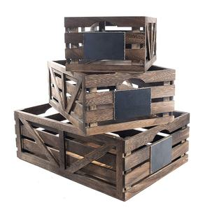 Rustic finish brown nesting boxes fruit wooden crates in bulk vintage home garden stacking wooden rustic wood crate