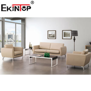 Ekintop 2-seater modern antique faux fabrique carved wood frame and silver yellow leather sofa sets