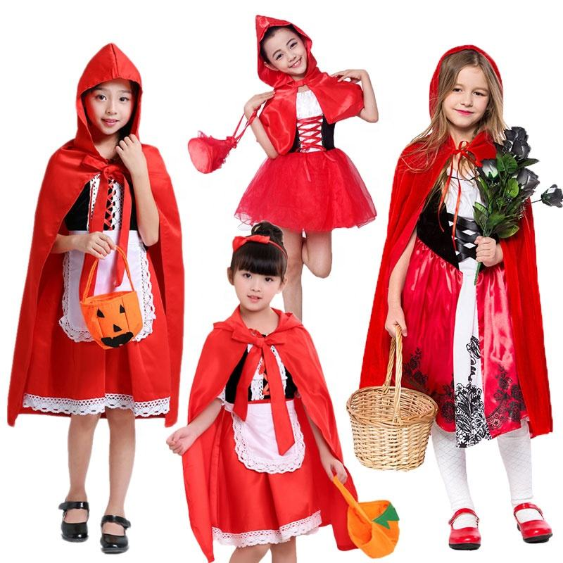 Halloween Cosplay Girls Red Riding Hood Costume Party Role Play Dress Up Fairytale Fancy Dress Costumes For Girls