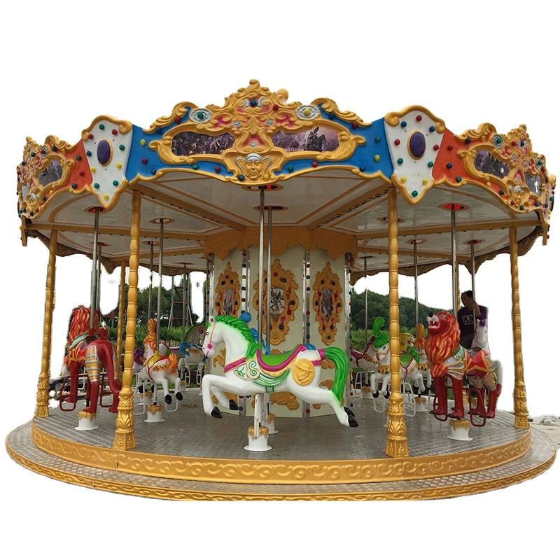 Attractive beautiful amusement park carousel