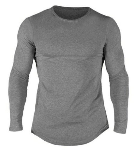 China factory wholesale cheap men blank longline curved hem long sleeves t shirt man