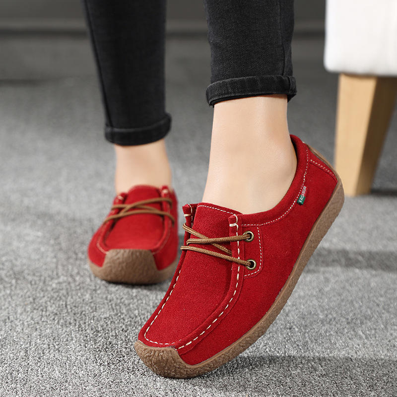 Lebeisite Wholesale Newest Lady Leather Moccasins Hit 2019 Casual Shoes Comfort Simple Soft Outsole Women Flat Shoes