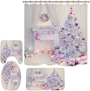 Merry Christmas Shower Curtain  Waterproof Bathroom Shower Curtain  Bath and Shower curtain set