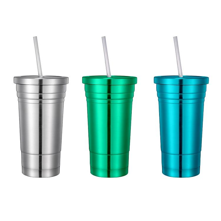 Business Stainless Steel Mug Straw 480ml/16oz Stainless Steel Wine Cup Vacuum Tumbler Cup Double Wall Insulated Beer Mug With Straw