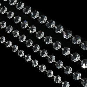 Hot selling clear octagon beads chain wedding crystal garlands strand for chandelier parts