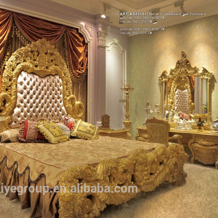 Luxury French Style Palace Golden Tufted Bed, Luxury Bedroom Furniture Set
