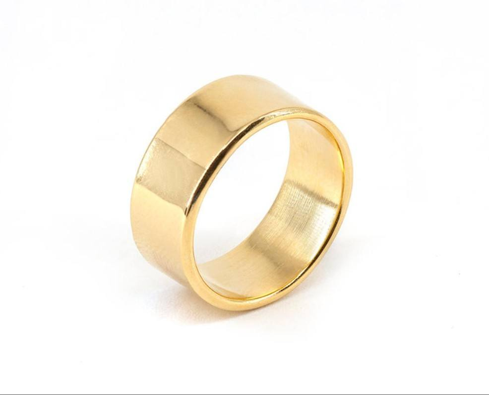 2020 New Arrival Design Stainless steel Jewelry 14K Gold Wide Cigar Band Ring For Women Men