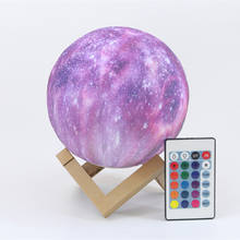 16 Colors Remote Control 3D Printing Starry Sky Night Light Lamp for Kids Gift