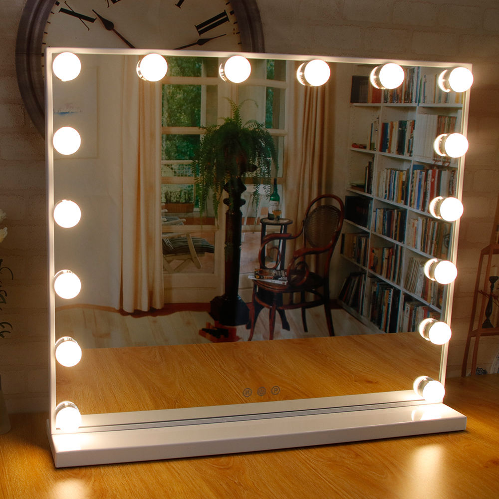 Metal [ Vanity Mirror ] Square Tabletop Big Hollywood Makeup Vanity Dressing Mirror With 16 Light Bulbs For Women