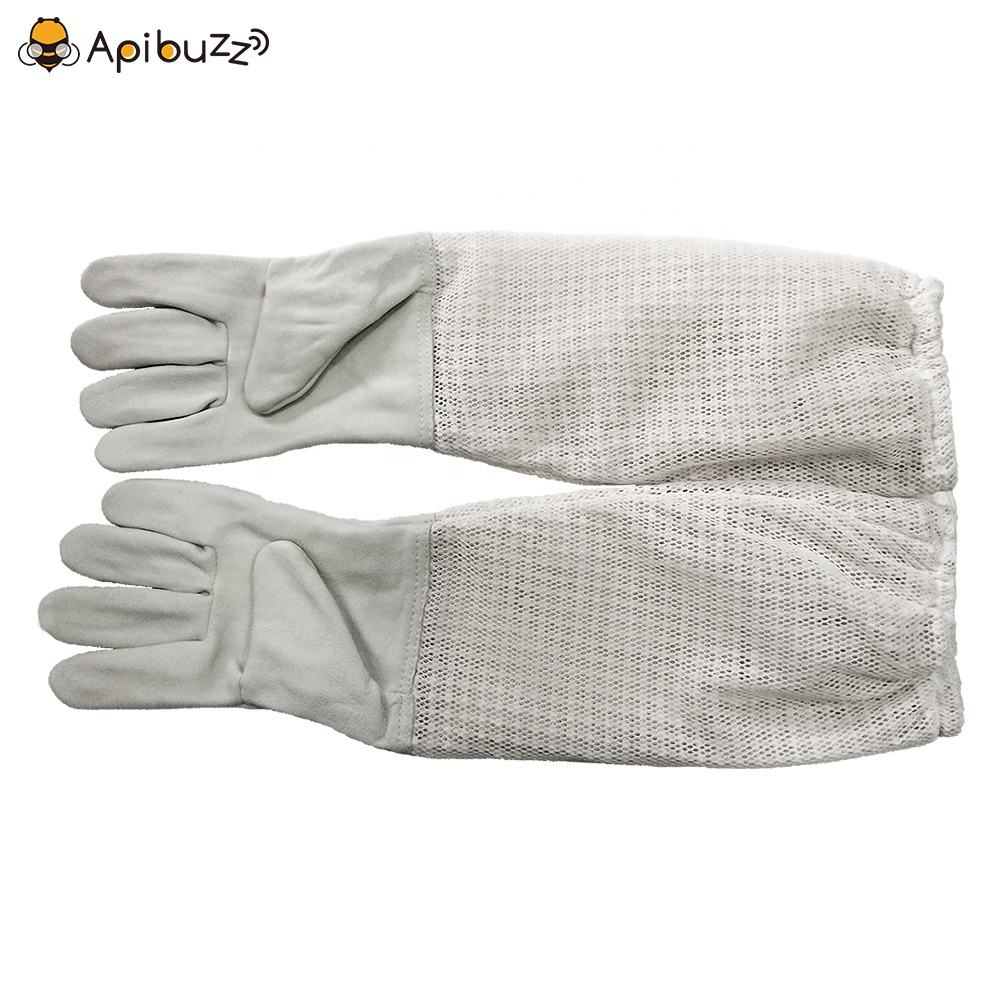 Apibuzz Three Layer Full Mesh Vented Beekeeping Gloves Long Sleeves Apiculture Bee Keeping Equipment Tool Supplies Apicultura