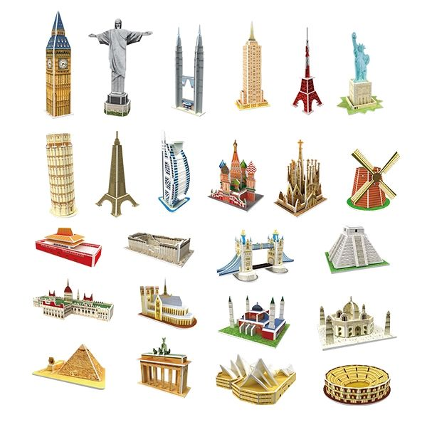 Famous World Landmark Mini Model Gift 3d foam puzzle Corcovado The Hungarian Parliament Petronas Towers Parthenon Temple