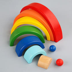 Seven rainbow rainbow colored blocks the montessori early childhood folding wooden arch wood blocks fancy originality