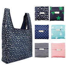 Large Size Shopping Tote Bag Reusable Nylon Strong Durable Grocery Shopping Bag Foldable Folding Polyester Handle Shopping Bag