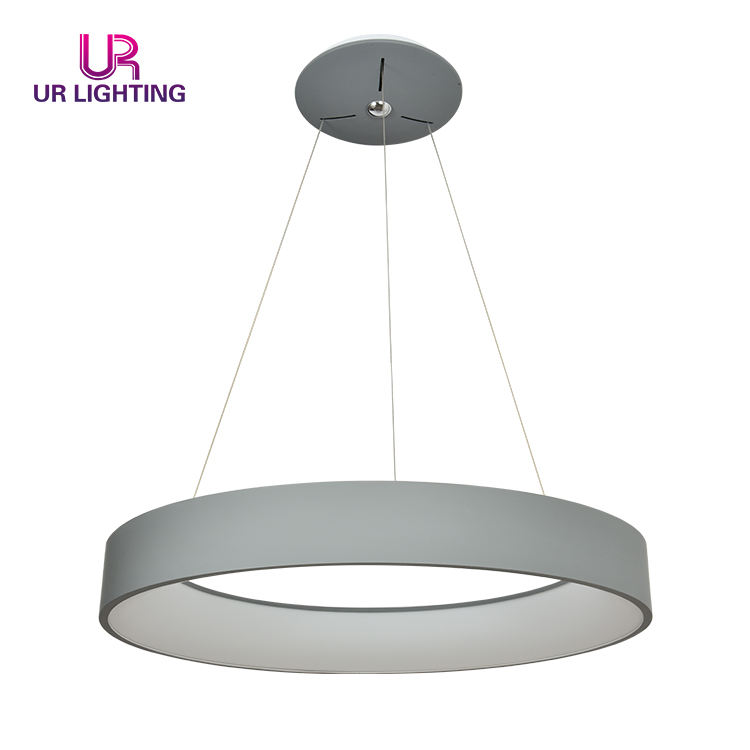 Modern gray annular Decorative Aluminum PC Bedroom Restaurant Chandelier LED Lamp