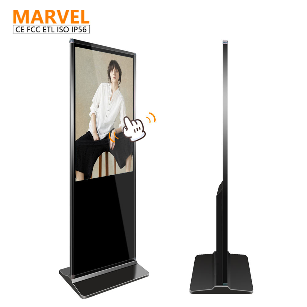 43 inch lcd media player indoor vertical Android screen advertising display floor stand monitor digital signage totem