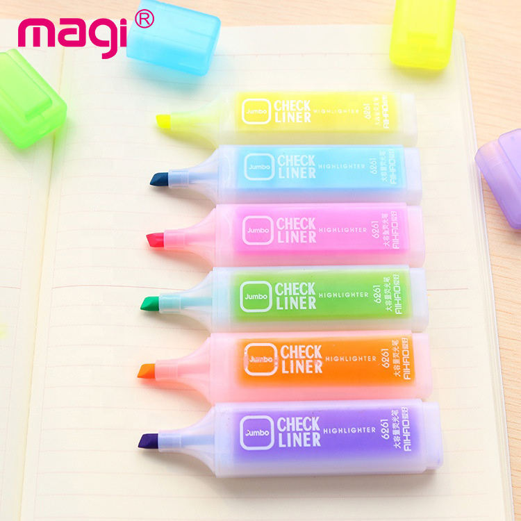 Top manufacturer 6 colors fluorescent highlighter marker pen set