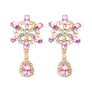 Fashionable instagram jewelry color diamond earrings making charms S925 silver needle sun flower earrings little girls