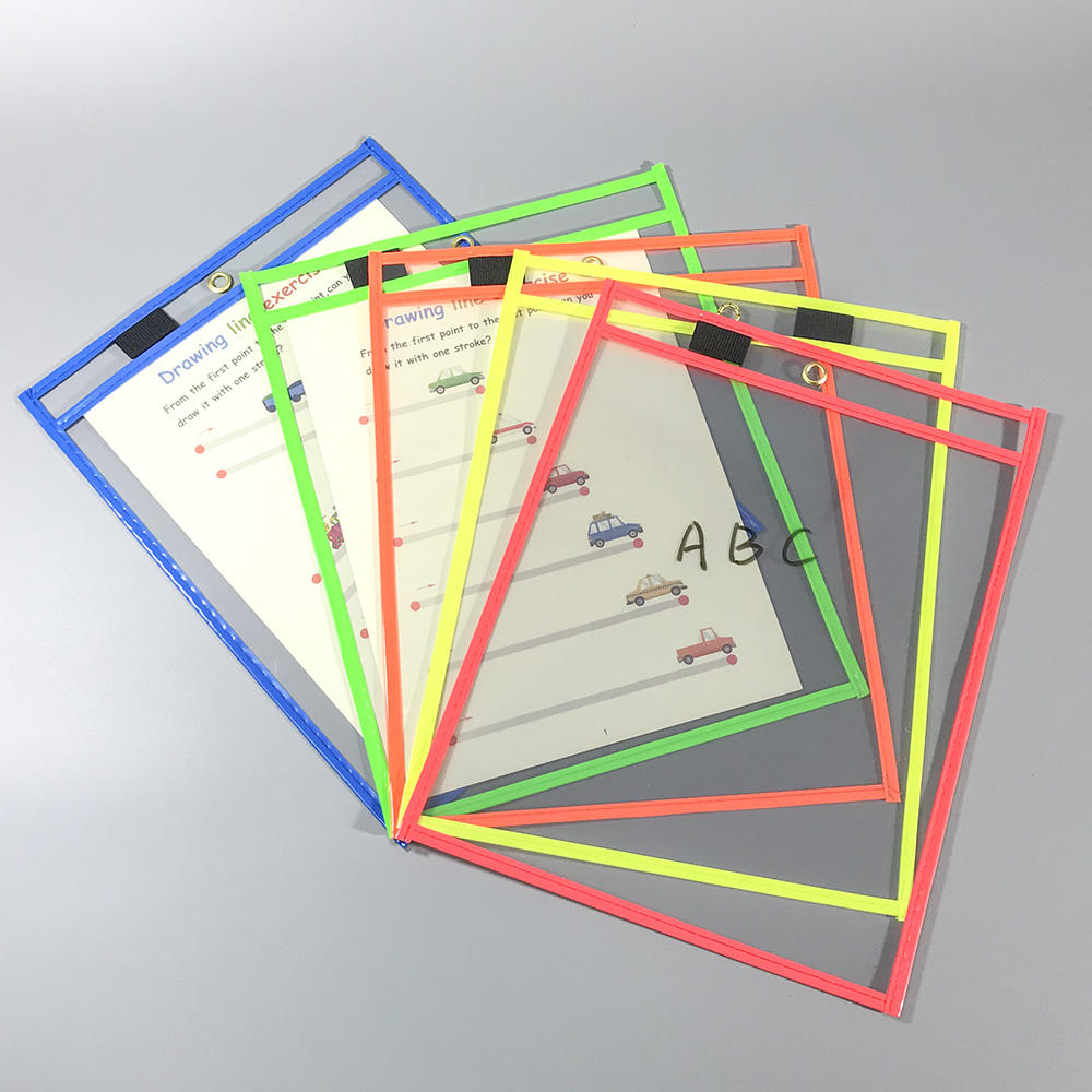 Reusable Dry Erase Pockets Transparent PVC File Holder Multifunctional Office Supplies Reusable Dry Erase Pockets For Chile And Teaching