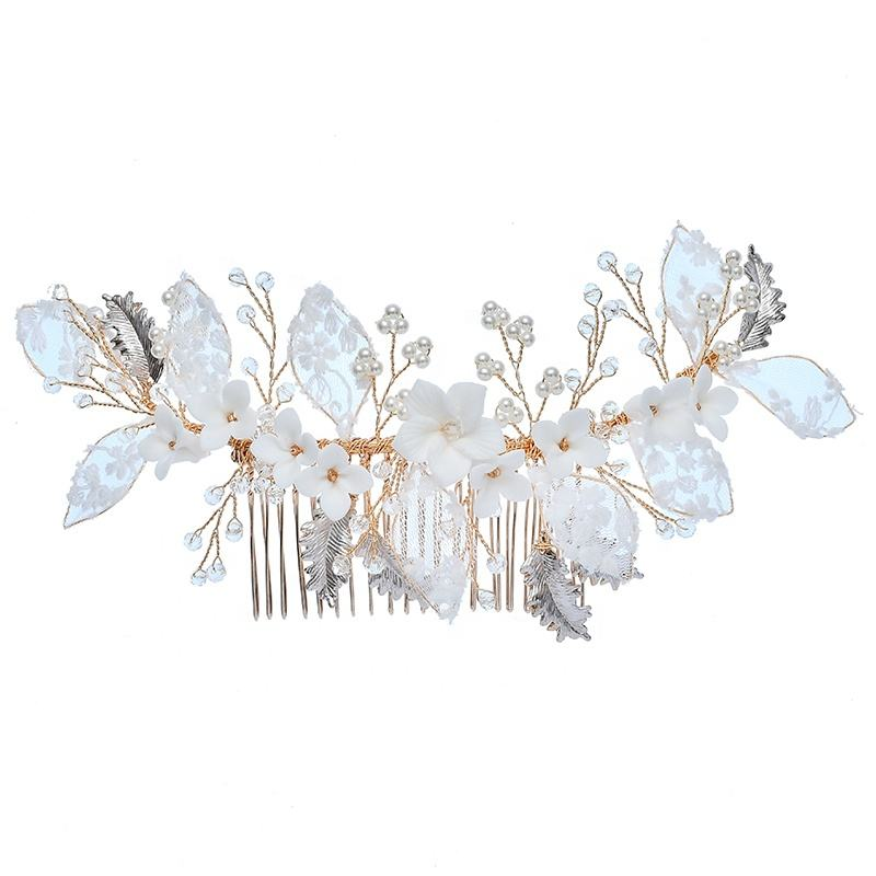Luxury Lace Flower Pearl Bridal Headdress Hairbands Prom Wedding Ceramics Floral Gold Leaves Hair Combs For Women