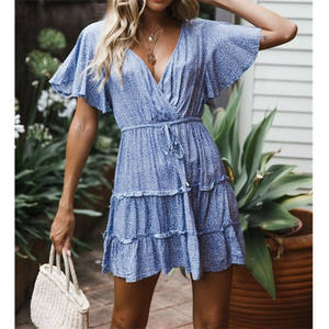 Summer Ladies Boho Beach Sundress Holiday Flare Sleeve V-neck Mini Dress High Waist Lace-up Dresses