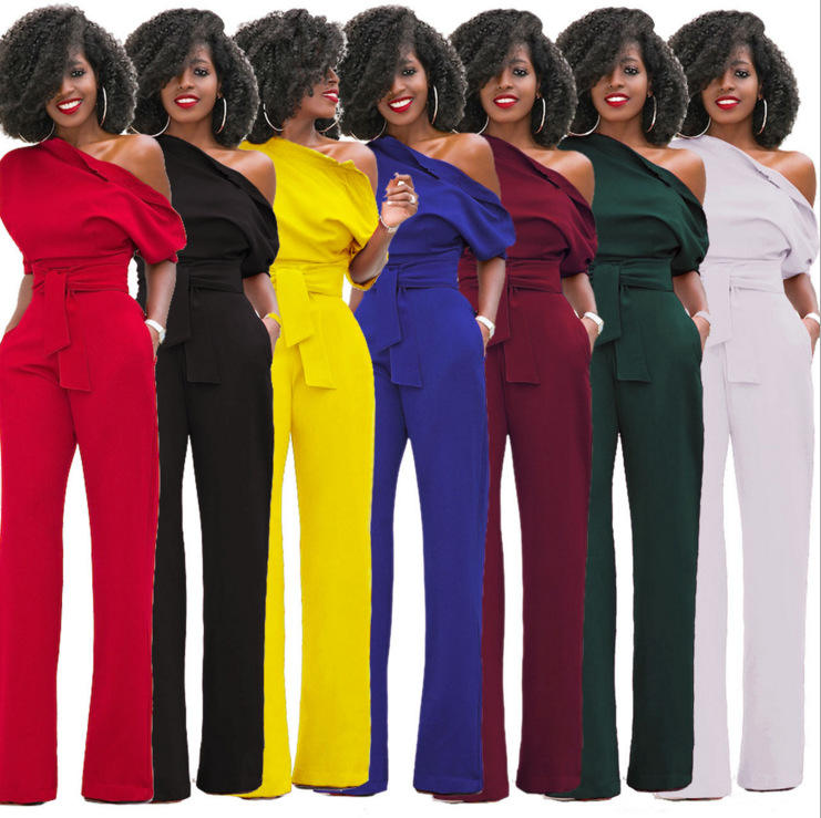 Amazon New Hot Style Plus Size Trousers Custom Palazzo Pants Long Jumpsuit Women Solid Rompers 1 Piece Wide Leg Pants Women