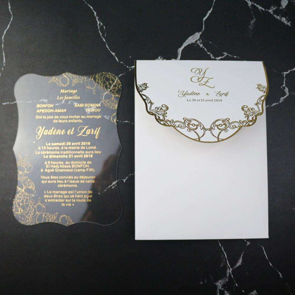 Gold Printing Clear Acrylic Invitation Card for Wedding