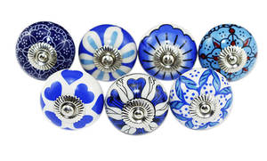 Lovely Round Shape Kids Drawer Door Handle Ceramic Knobs Blue Furniture Hardware Ceramic Knobs //