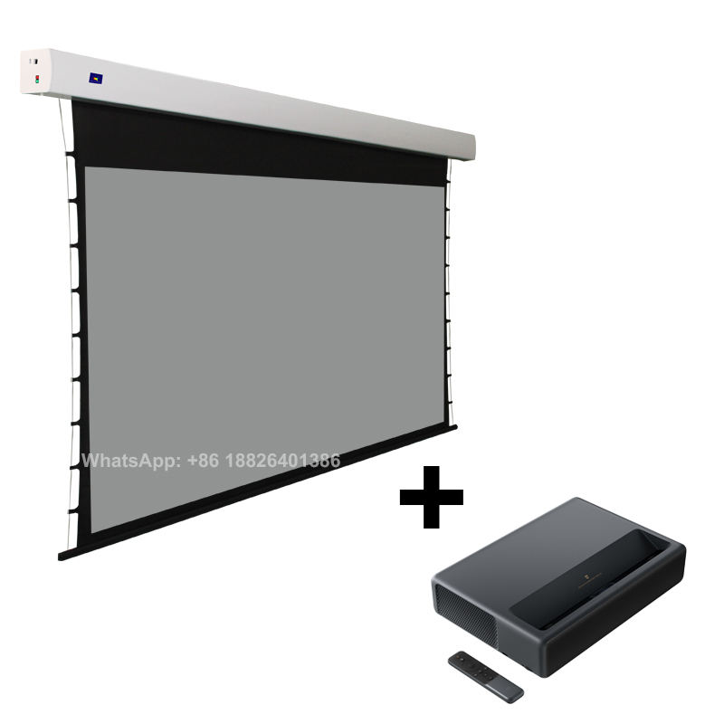 XY Screens ALR Grey 100 inch Motorized Projector Screen for Ultra Short Throw Projector