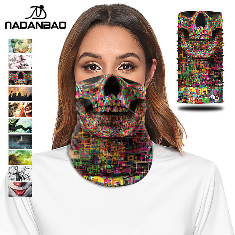 NADANBAO Cosplay Skull Bandana Scarf Cycling Hiking Bandana Windproof Fishing Scarf Unisex Custom Magic Scarf Bandanas Headwear
