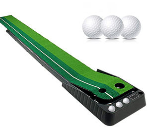 Golfe Putting Mat Treinamento Indoor Putting Green com Retorno de Bola Incluindo 3 Balls-9.84ft Longo
