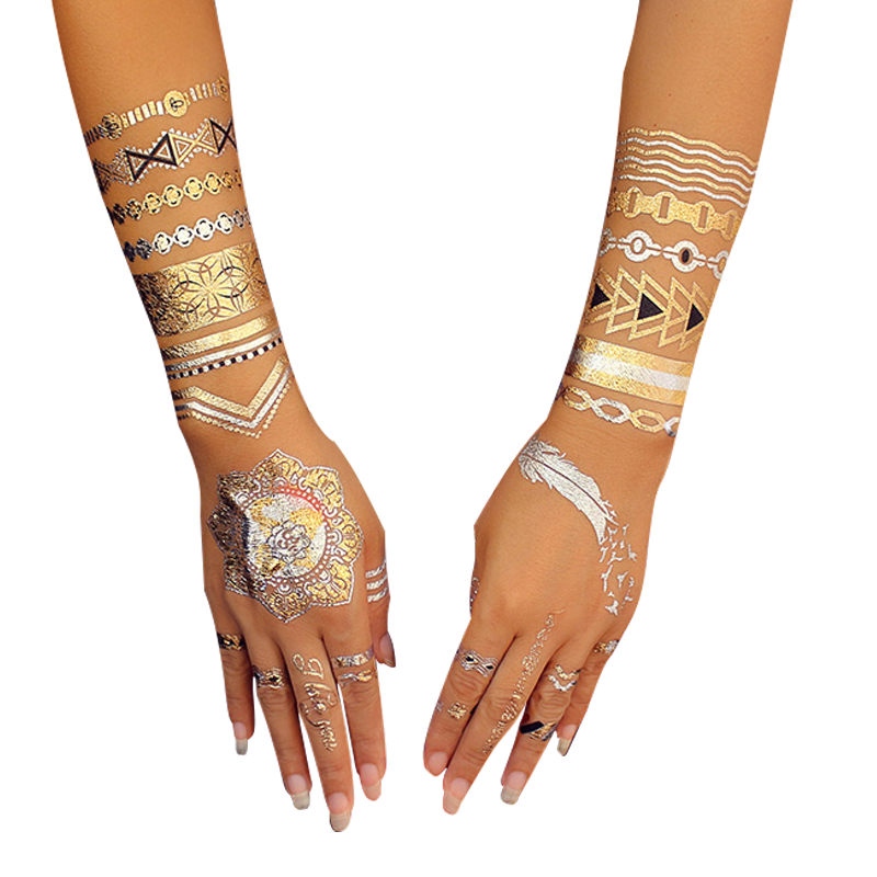 wholesale high quality custom Flash tattoo gold and silver tattoo sticker