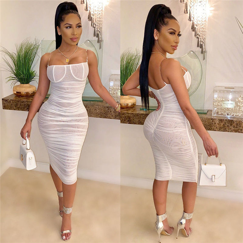 Women Straps Bodycon Ruched Dress Mesh 2020 Straps Bodycon Ruched Woman Party Night Club Dress Summer Clothes For Women